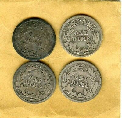Lot of 4 (Four) US Liberty Head/ Barber SILVER DIMES 1913 1913-S, 1916 & 1916-S