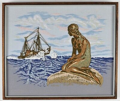 Mermaid and Ship Large Crewel Embroidery Framed Picture 21 X 25 Adele Veres