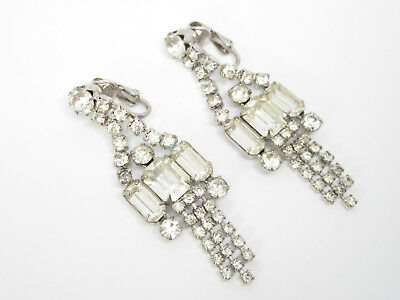 "Designer WIESNER Emerald Cut Diamante Chandelier Drop Fringe 2 3/8"" VTG Earrings"