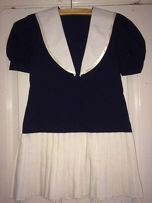 girls vintage sailor dress navy white pleated Fancy dress party wedding nautical