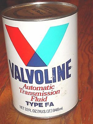 Valvoline Transmission Fluid Type FA Vintage Mint Quart Can FULL - BIN
