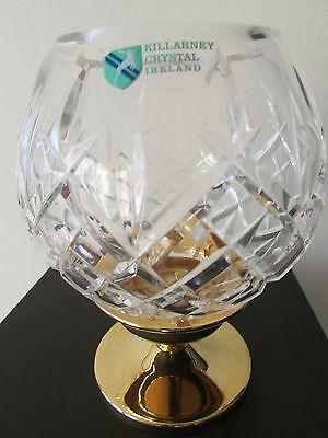 "KILLARNEY CRYSTAL (IRELAND) TEA LIGHT HOLDER, 22ct GOLD BASE, 6"" HEIGHT."