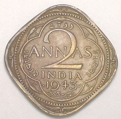 1943 India Indian 2 Annas WWII Era Square Coin F+