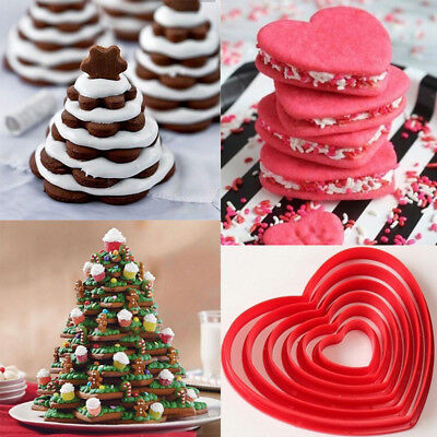 6pcs 3D DIY Christmas Tree Baking Cake Five-pointed Star Cookies Cutters Mold