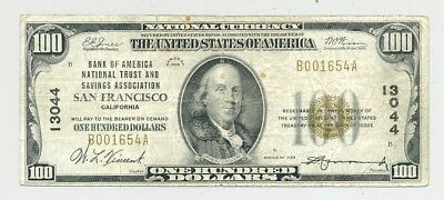 $100 1929 type 1 National Banknote from San Francisco, CA  rare type! no reserve