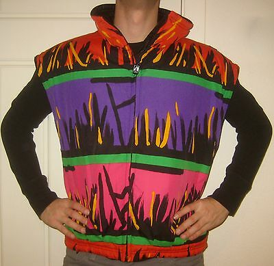 Vtg 80s Neon SKEA Color Block VEST Mens MEDIUM Womens 10 Snowboard Jacket Coat M