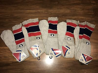 NWT Vtg 70s 80s Gray TUBE SOCKS Red Navy STRIPED Athletic Old School Sport NEW
