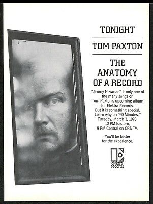 1970 Tom Paxton photo Jimmy Newman song release Elektra music trade print ad