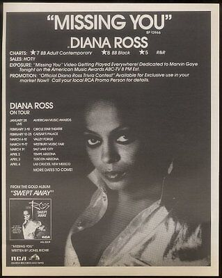 1985 Diana Ross photo Missing You trade vintage print ad