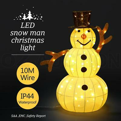3D Snowman Christmas Light 10M LED Rope Fairy Xmas Decor Figure w/Hat