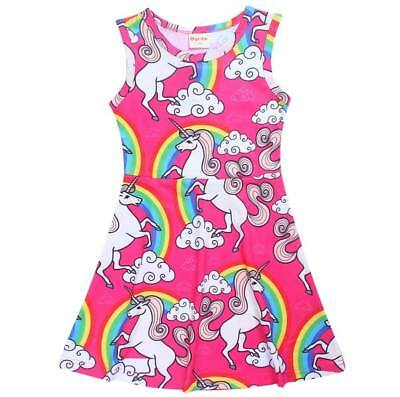 BNWT-Girls Pink Rainbow Unicorn Summer Dresses.