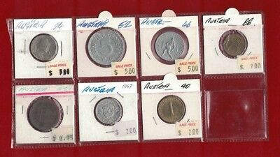 1851 to 1990 Austria 7 coins clearance