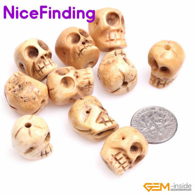 Yellow White Carved Buffalo Bone Skull Beads For Jewelry Making Big Hole 1.2mm