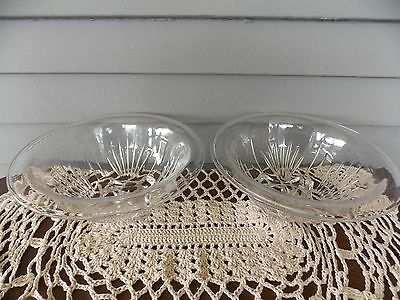Set of 2 Vintage Cut Glass Small Mixing Bowls Starburst Square Base Rolled Edge