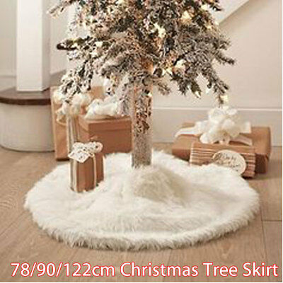 78/90/122CM White Christmas Tree Skirt Stand Apron Ornaments Party Home Decor