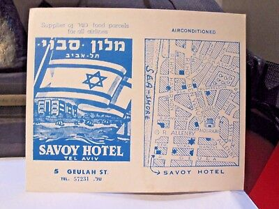 Hotel Motel Pension Savoy Tel Aviv Israel Pc Postcard Information Card Post