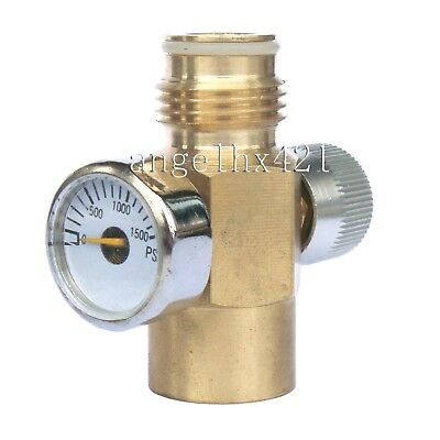 New paintball Inner Thread CO2 Tank On/Off Valve with 1500 Psi Gauge