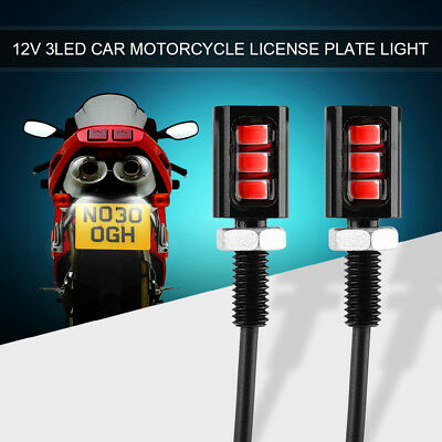 2x 3LED Universal Car Motorcycle License Number Plate Screw Bolt Red Light Lamp