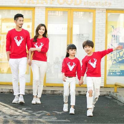 Xmas Family Matching Pullover Sweater Jumper Mens Womens Kids Hoodie Shirt Tops