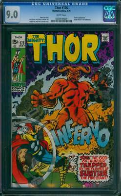 Thor # 176  The Flames of Surtur the Fire Giant !  CGC 9.0 scarce book !