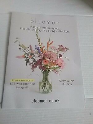 Bloomon complimentary vase worth £25 with your first order voucher