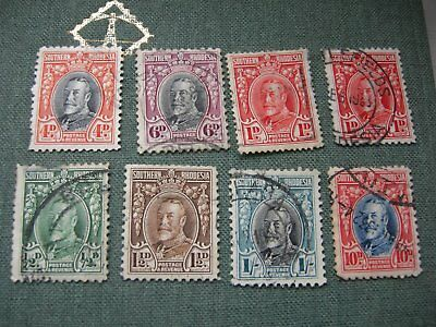 Southern Rhodesia 8 stamps KGV Old head 1935/6 all FU except 1/2d green.