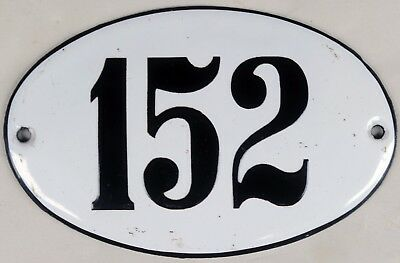 Old oval French house number 152 door gate plate plaque enamel steel metal sign