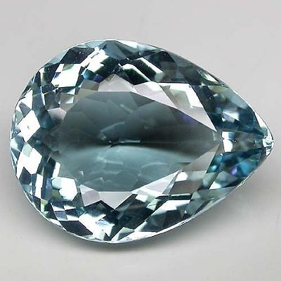 24x18mm PEAR-FACET LIGHT BLUE/GREEN NATURAL AFRICAN AQUAMARINE GEM (APP £822)