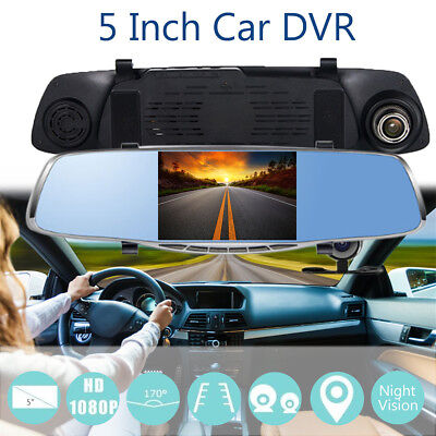 5'' 1080P HD Dual Lens Car Dvr Rearview Mirror Camera Recorder Night Vision