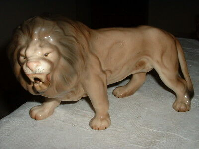 "Lovely Large Vintage ""melba Ware"" Pottery Lion Figure Ornament"
