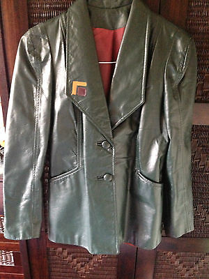 Vintage 1980s Racing Green Leather Blazer Jacket Like New Size 12 to 14