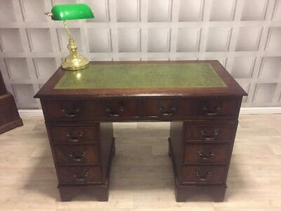 Antique Style Vintage Green Leather Top Writing Desk Mahogany FREE UK P&P