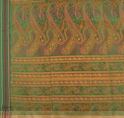 TCW Vintage Indian Saree Art Silk Painted Cream Craft Fabric Sari