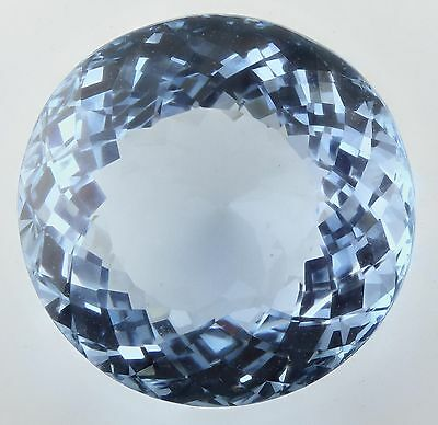 19mm ROUND-FACET LIGHT PASTEL-BLUE NATURAL BRAZILIAN AQUAMARINE GEM (APP £1,404)