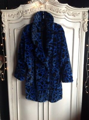 Vintage, 80's, Graphic Print, Faux Fur Coat. Size 14.