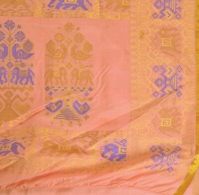 TCW Vintage Indian Saree Pure Silk Sari Fabric Embroidered Woven Peacock