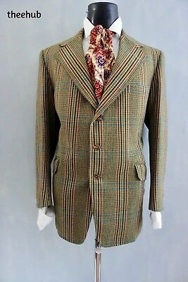 Bespoke Savile Row Vtg 70s Cambridge Wales Check Wide Lapel Tweed Country Jacket