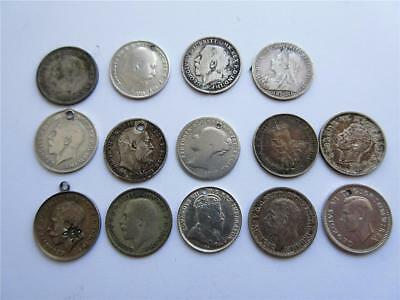 Job Lot of mostly PRE 1920 UK SILVER 3d COINS x14 - 19.2g - Scrap or Collect!