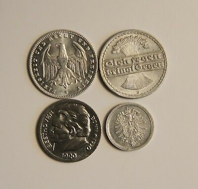 (4) German Uncirculated 1920s Coins