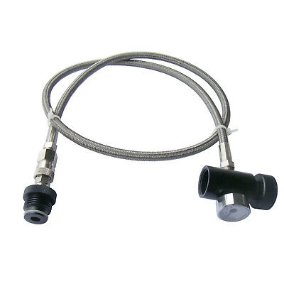 New Paintball Stainless Steel Braided Remote Hose with 3000 PSI Gauge w/ QD