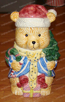 Holiday Teddy Bear Cookie Jar (IB for Ames Dept. Store) Ceramic, Hand-Painted
