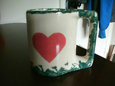 lovely american buttermilk acres stoneware mug spongeware heart design