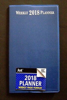 """Blue 2018 Weekly Format Pocket Planner Approx 6 3/4"""" X 3 3/4""""  FREE SHIPPING!"""