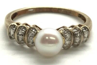Sterling Silver Antique Style Oxidized Pearl Diamond Accent Petite Cocktail Ring
