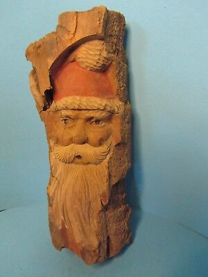 """Hand Carved Wooden Santa Head 1991 Local Carver 12"""""""