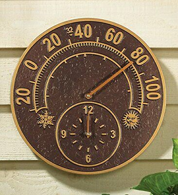 Whitehall Products 01784 Solstice Thermometer Clock Combo