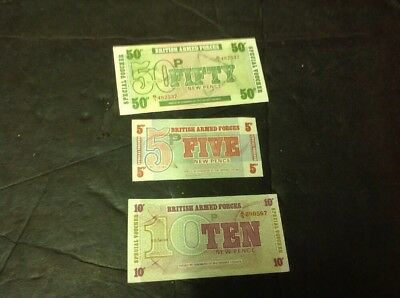 Paper Bank Notes, Money, British Armed Forces, 3 Notes 5,10, 50p. (6 Series) ..