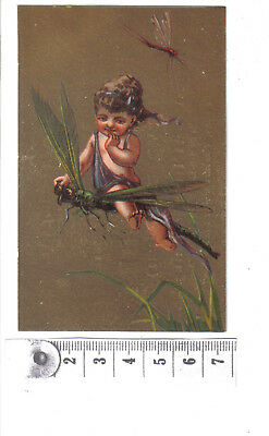 Vintage French Card.Child rides on dragonfly