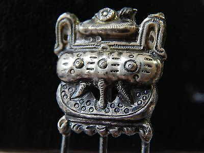 Antique Vintage Egyptian Revival Victorian Sterling Silver Hair Comb 4""