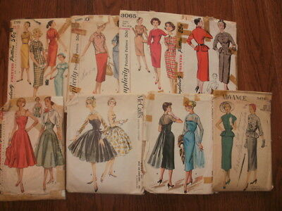 Lot Of Eight Vintage 1950's Sewing Patterns
